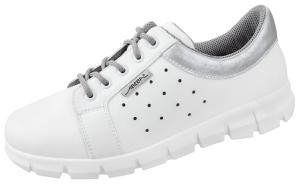 White and Silver Microfibre Trainers