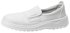 1128 Unisex slip on white microfibre uppers