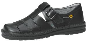36610 ESD ladies sandal black smooth leather uppers with buckle