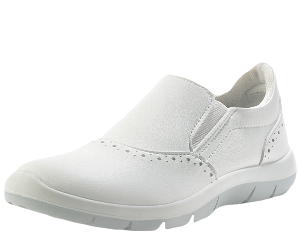 White slip on shoes microfibre uppers