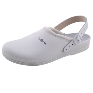 white clogs with heel strap anti-static for hospital use