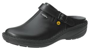 ESD Black Leather Clogs Wider Fitting  Padded Instep with heel strap 36813