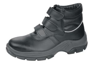 Black Leather Safety Boots Shock Absorbing PU Sole 3 fastening straps 1655