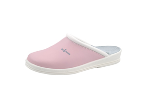 Pink Leather Clogs with leather insole and padded instep