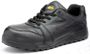 Nevada Black Leather SAFETY Trainers Slip Resistant Sole Anti-static (NEVADA)