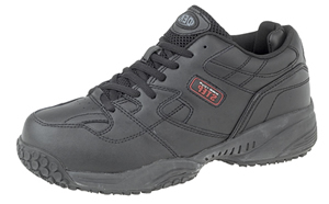 T754A Black Leather trainer non slip base