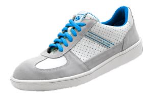 ESD white & blue leather ESD safety trainers