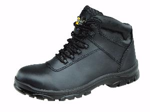 Black Leather Lace Up Safety Boots